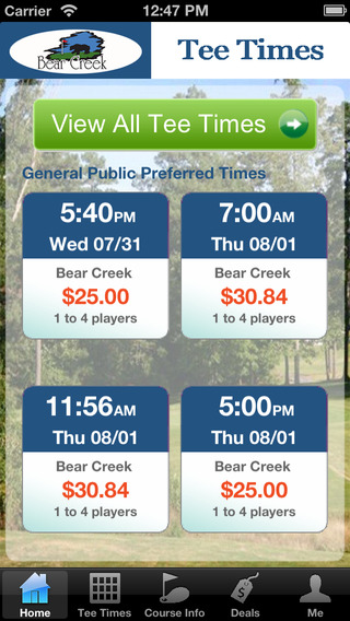 Bear Creek Golf Club Tee Times