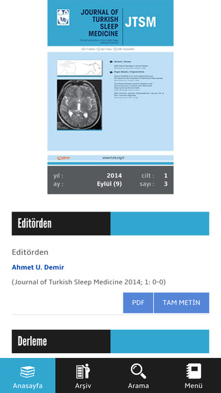 JTSM - Journal of Turkish Sleep Medicine - Türk Uyku Tıbbı Dergisi