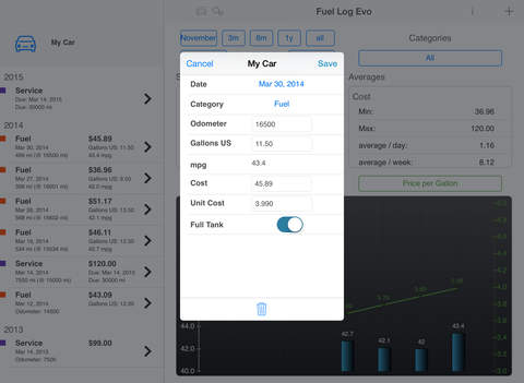 Fuel Log Evo iPad Screenshot 3