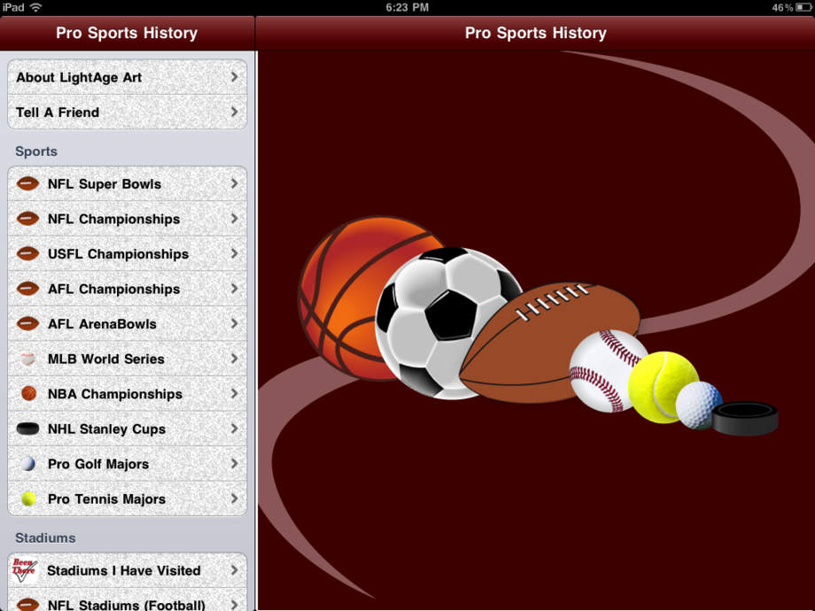 Professional Sports History - iPhone Mobile Analytics and App Store Data