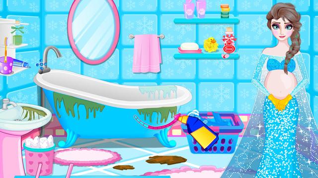 Pregnant Barbara Bathroom Cleaning