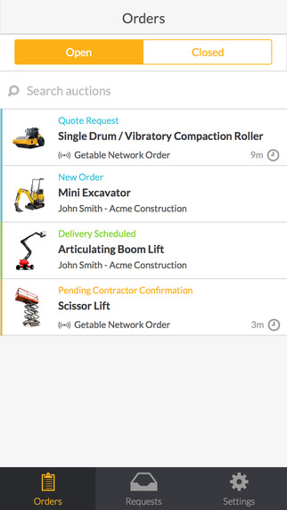 Getable for Suppliers - Construction equipment rentals