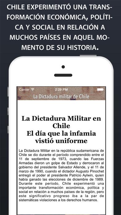 Dictadura militar en Chile: Hecho Histórico iPhone Screenshot 2