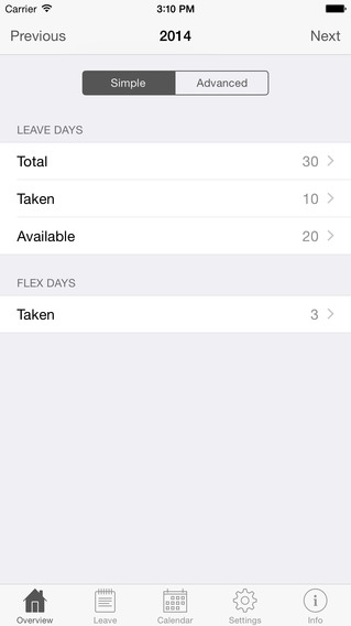 Annual Leave iPhone Screenshot 1