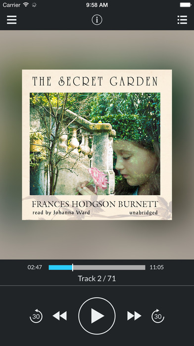 The Secret Garden (by Frances Hodgson Burnett) (UNABRIDGED AUDIOBOOK) : Blackstone Audio Apps : Folium Edition iPhone Screenshot 1