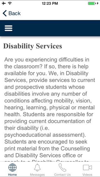 Disability Services App - Keyano College