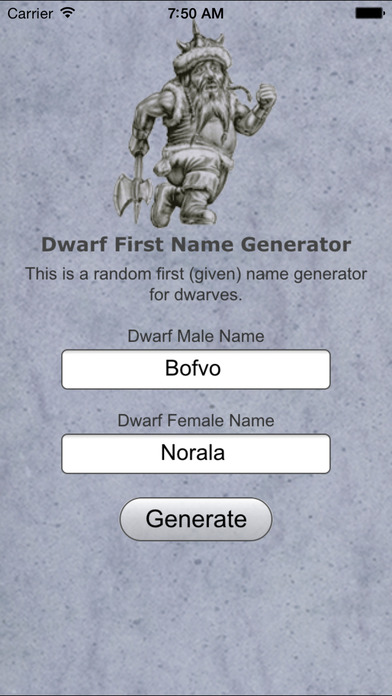 Dwarf Name Gen Basic iPhone Screenshot 1