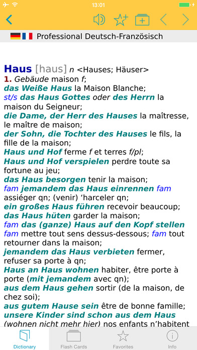 French <-> German Talking Dictionary Langenscheidt Professional iPhone Screenshot 1
