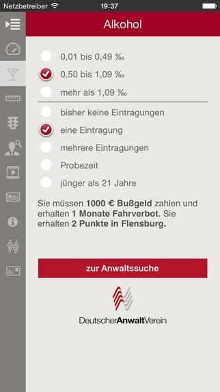 Bußgeldrechner iPhone Screenshot 2
