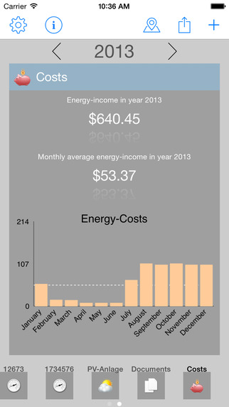 Energy-costs and meter readings for iPhone