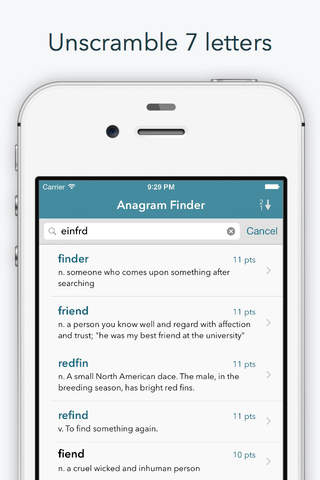 """Screenshot 2 Word Lookup Free - Dictionary and Anagram Finder """"for Words With Friends"""""""