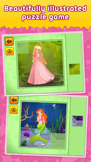 Princesses Mermaids and Fairies - puzzle game for little girls and preschool kids