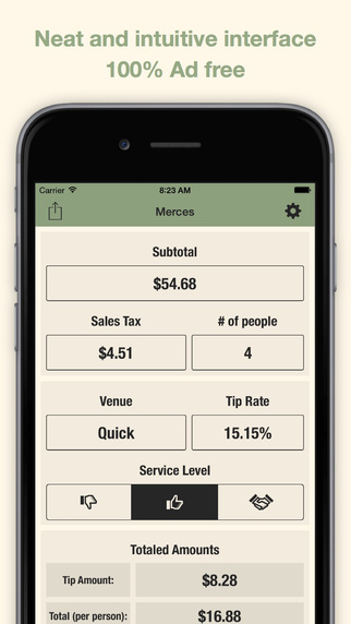 Merces - Personal Tip Calculator