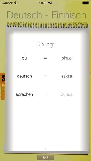 Vocabulary Trainer: German - Finnish iPhone Screenshot 2