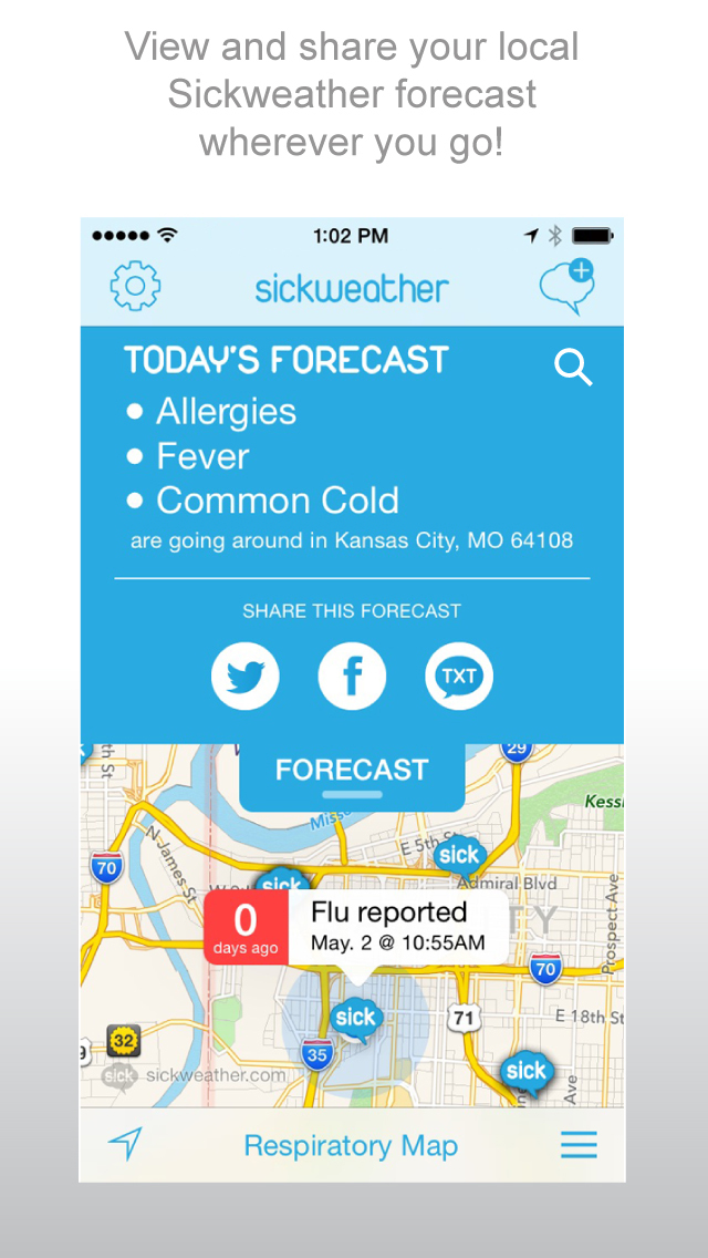 Download Sickweather community illness tracker realtime