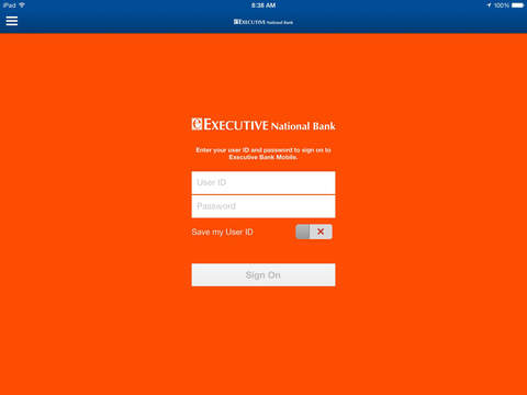 Executive Bank Mobile for iPad