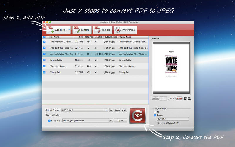 4Videosoft Free PDF to JPEG Converter Screenshot - 1