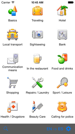 English-French-Spanish-Italian-German Talking Travel Phrasebook iPhone Screenshot 1