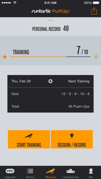 Runtastic Push Ups - Workouts Trainer Counter