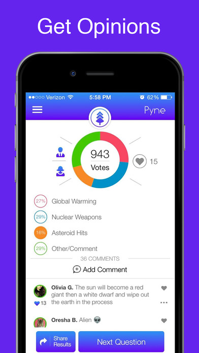 Pyne – Poll the World. Ask Questions, Get Answers - feedback & opinions from guys and girls by social polling screenshot