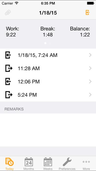 Stechuhr iPhone Screenshot 1