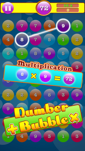 Addition & Multiplication Number Bubbles Games free for iPhone/iPad screenshot