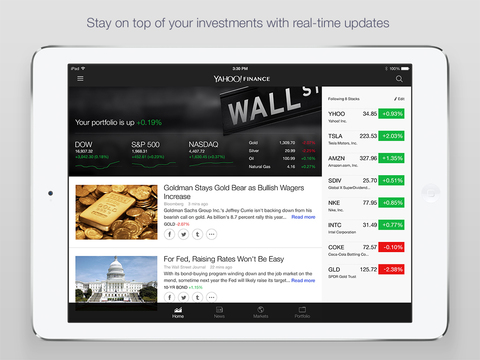 Screenshot 1 Yahoo Finance - Real time stocks,  market quotes,  business and financial news,  portfolio and alerts