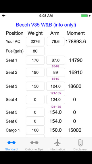Be V35 Weight and Balance Calculator iPhone Screenshot 1