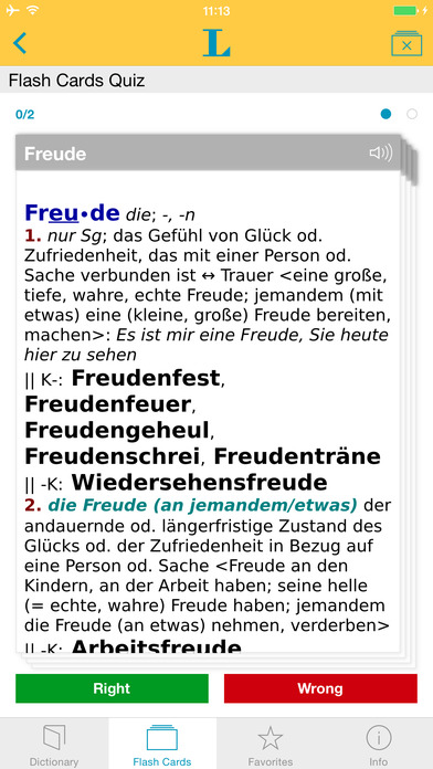 German Learner's Dictionary Langenscheidt iPhone Screenshot 3