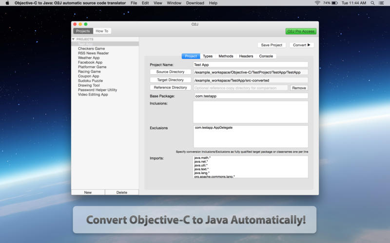 Objective-C to Java - O2J automatic source code translator Screenshot - 1