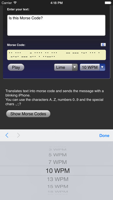 Morse Code iPhone Screenshot 4