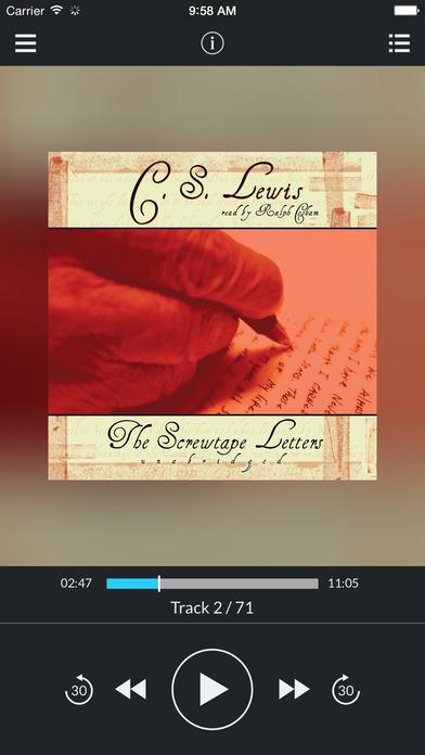 The Screwtape Letters (by C. S. Lewis) (UNABRIDGED AUDIOBOOK) : Blackstone Audio Apps : Folium Edition iPhone Screenshot 1