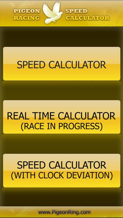 PIGEON RACING SPEED & REALTIME CALCULATOR iPhone Screenshot 1