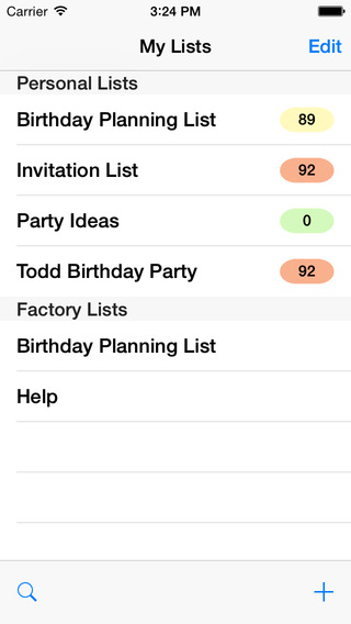 Birthday Planning List