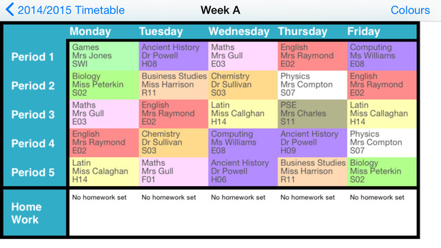Timetable 2 weeks