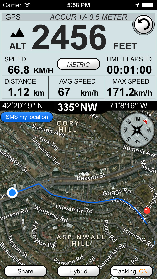 Altimeter GPS plus (Compass Speedometer & Location Tracking) screenshot 4