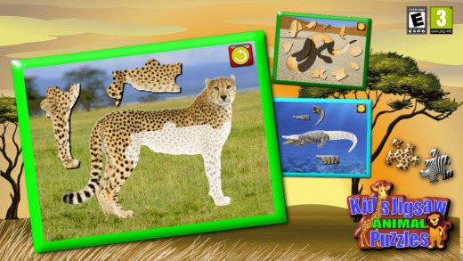 Children's Animal Jigsaw Puzzles - educational young kids game teaches shapes and matching suitable