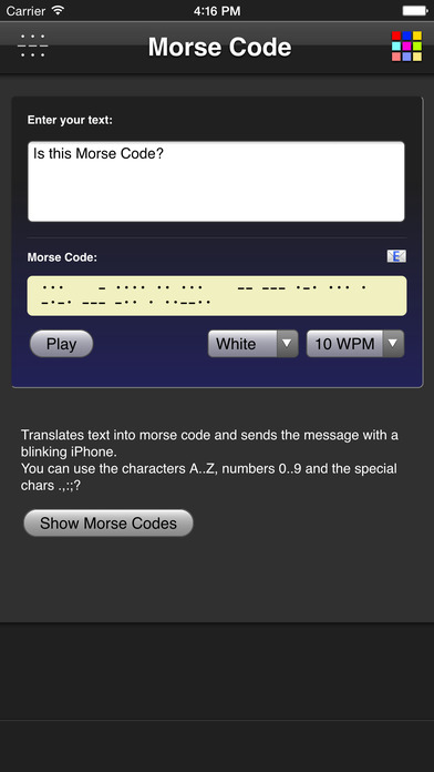 Morse Code iPhone Screenshot 1