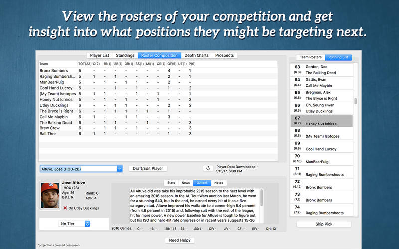 RotoWire Fantasy Baseball Draft Kit 2017 Screenshots