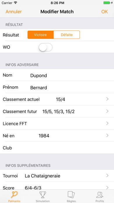 Mon Classement Tennis iPhone Screenshot 5