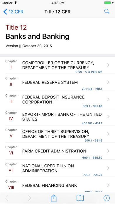Title 12 Code of Federal Regulations - Banks and Banking iPhone Screenshot 1