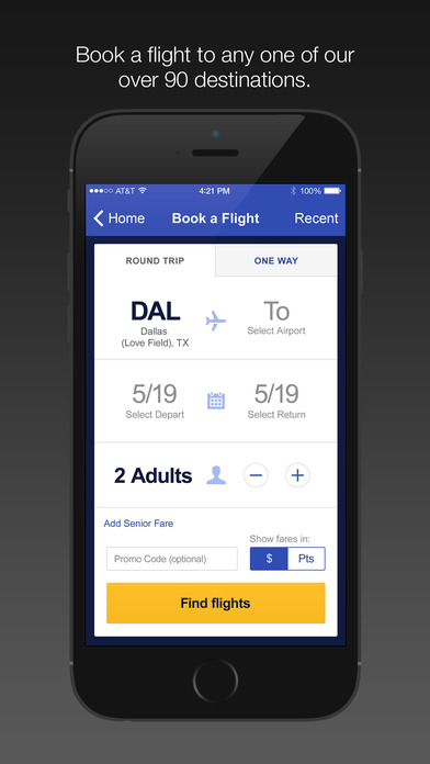 Southwest Airlines iPhone Screenshot 2