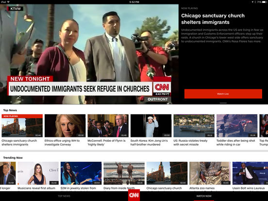 Screenshots of CNN for iPad