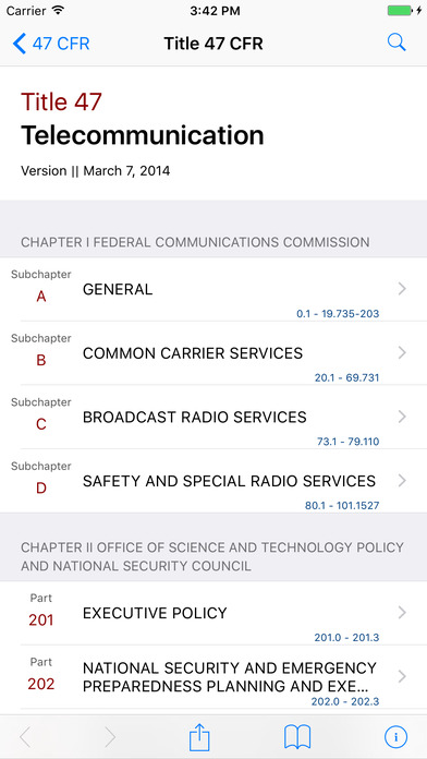 Title 47 Code of Federal Regulations - Telecommunication iPhone Screenshot 1