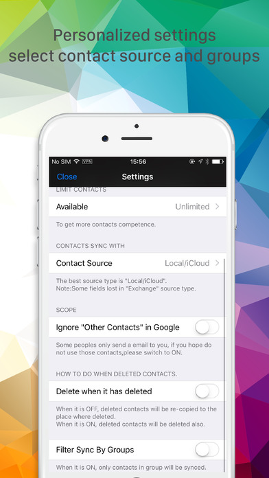 Sync with Google Contacts on the App Store