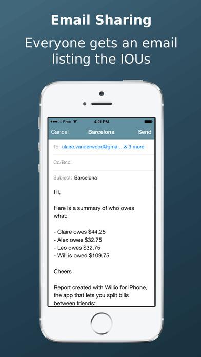 Willio - Split bills between friends Screenshots