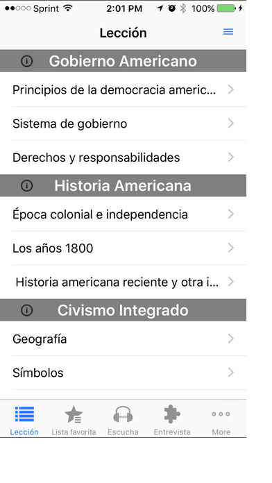 Ciudadanía Americana iPhone Screenshot 1