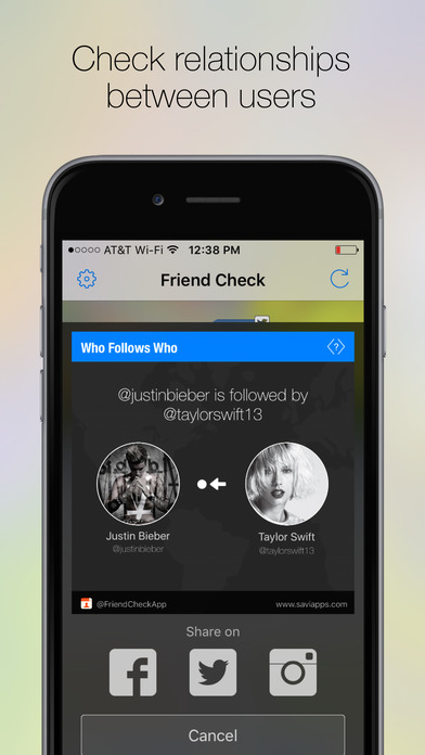Friend Check, Follow Tracker for Twitter,Instagram Screenshots