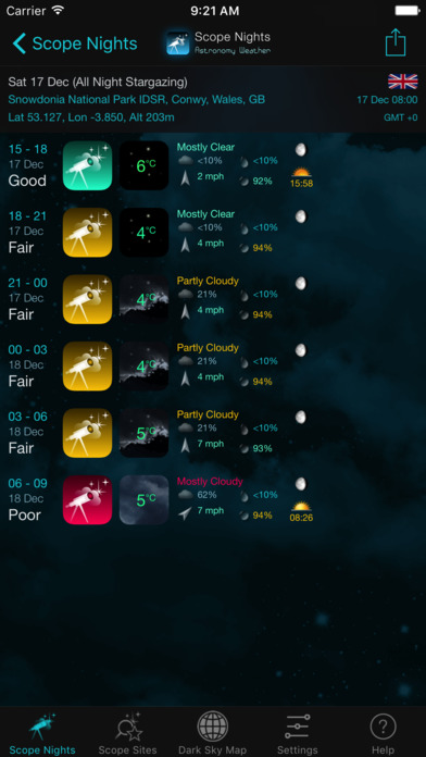 Scope Nights: Astronomy Weather & Dark Sky Map Screenshots