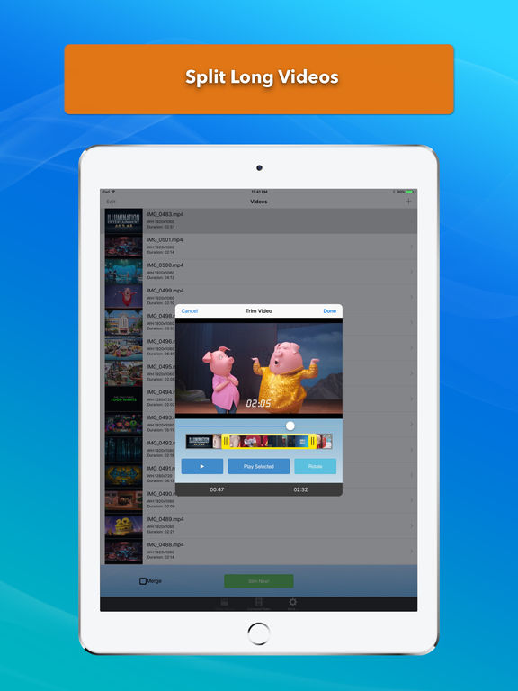 Video Slimmer: Shrink, trim, merge, rotate movies Screenshots